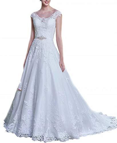 Women'sCap Sleeves Lace Princess Wedding Dress for Bride Aplique Open Bac Bridal Gowns White 16 Plus