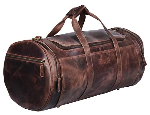 Genuine Vintage Leather Duffle Bag, Travel Carry on for Men and Women