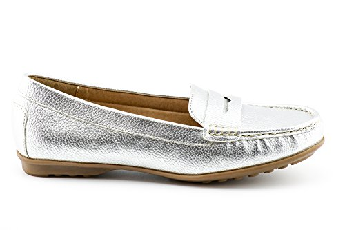 Boat Mocassins KIKI Women's Loafers Slip Silver on Comfort Shoes CALICO Flats Penny wgq4XnvvR