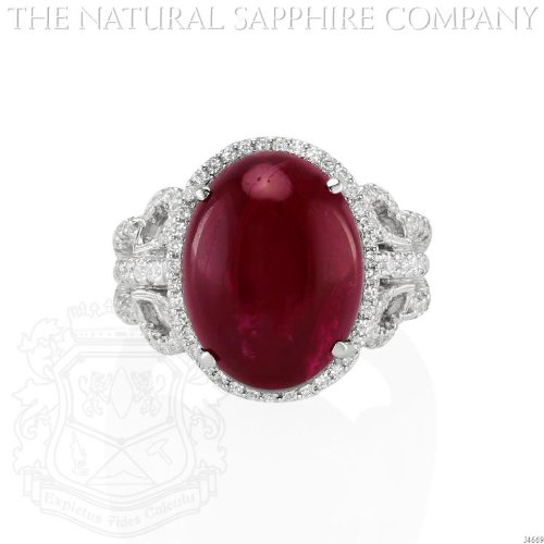 18K White Gold, 15.50 Carat Cabochon Ruby and Diamond Ring. ()