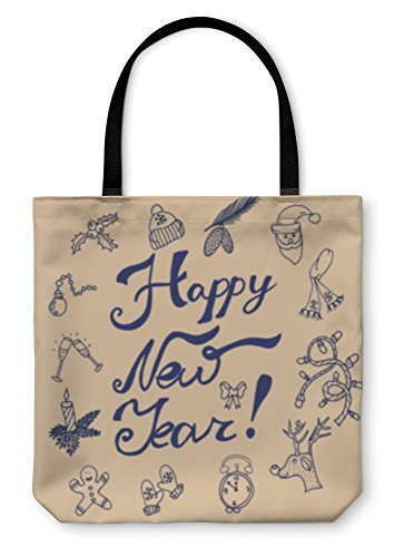 Gear New Shoulder Tote Hand Bag, Christmas Sketch Congratulations With New Year In Typographic Style, 18x18, (New Years Congratulations)