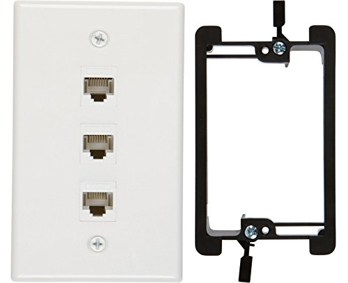 Buyer's Point 3 Port Cat6 Wall Plate, Female-Female White with Single Gang Low Voltage Mounting Bracket Device (3 (Double Gang Single)