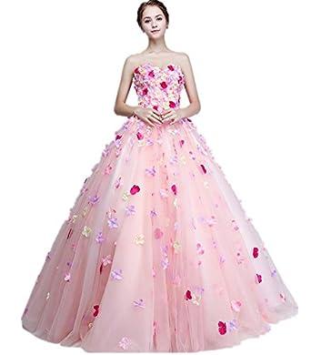 Amazon.co.jp: ウェディングドレス ピンク 花柄 カラードレス