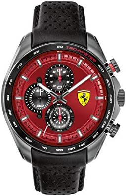 Ferrari Men's SPEEDRACER Stainless Steel Quartz Watch with Leather Calfskin Strap, Black, 22.5 (Model: 0830650)