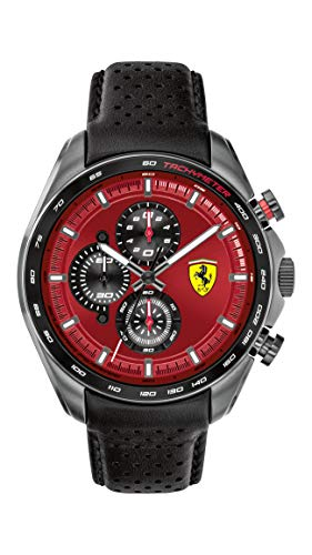 Ferrari Men's SPEEDRACER Stainless Steel Quartz Watch with Leather Calfskin Strap