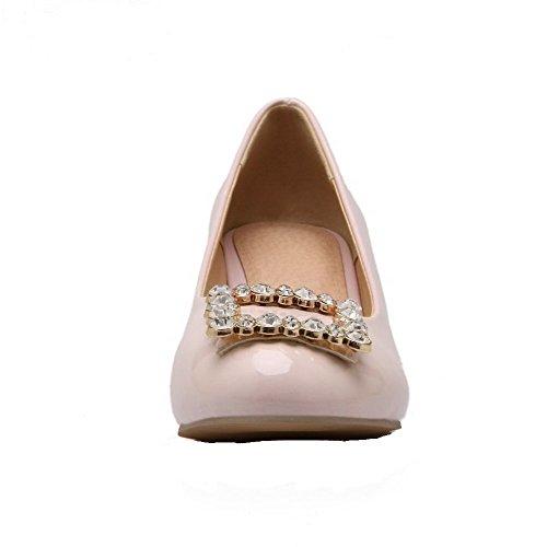AllhqFashion Damen Rein Lackleder Niedriger Absatz Ziehen auf Rund Zehe Pumps Schuhe Pink
