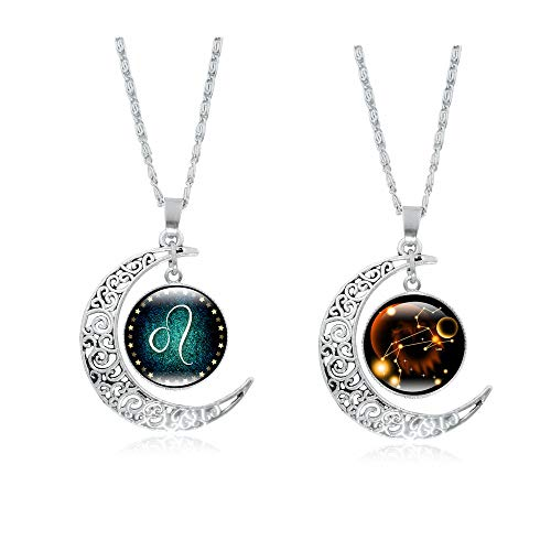 Frodete 12 Constellations Cresent Moon Necklace Women Jewelry 12 Zodiac Sign Tag Pendant Necklace Charm Set Birthday Gifts (♌ Leo (7.23-8.22) ()