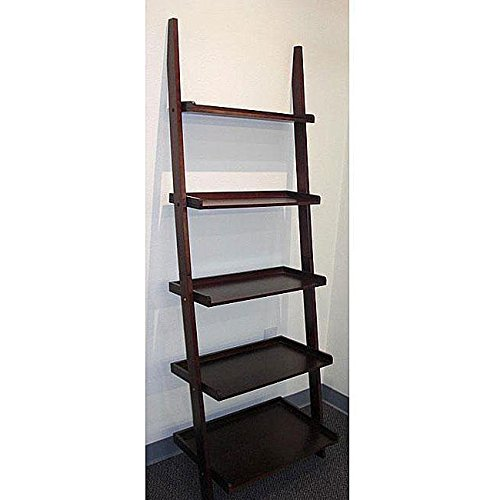 Cappuccino Five-tier Leaning Ladder Shelf