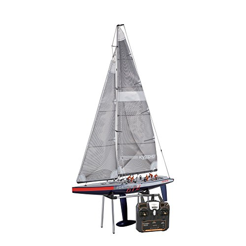Electric Rc Sailboat - Kyosho 40042S-B Fortune 612 III Ready Set RC Sailboat Vehicle, 612 mm, Blue/Red/White