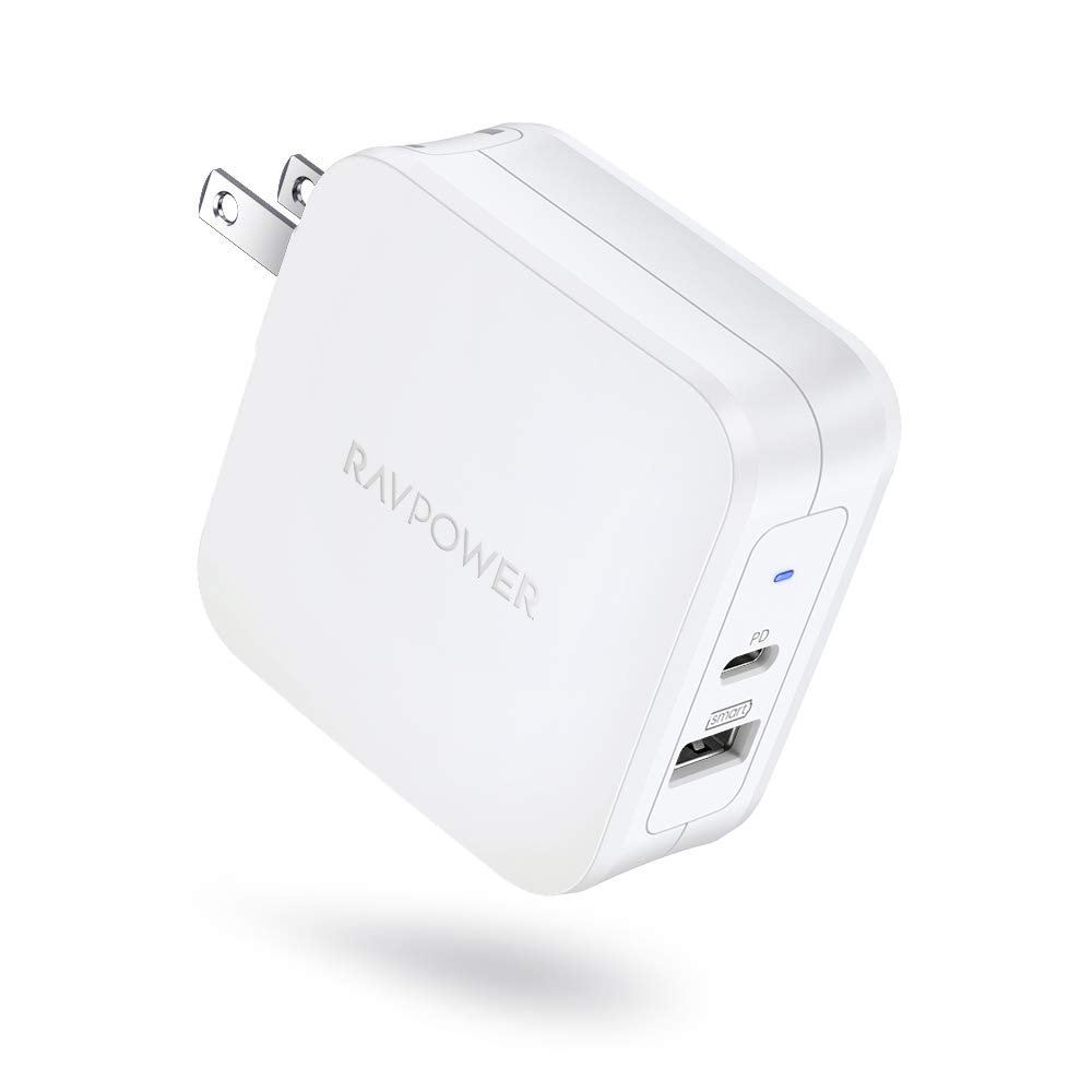 USB Wall Charger, RAVPower 61W Type C PD 3.0 Power Adapter, Dual Port USB C Wall Charger, Compatible with MacBook Pro Air, Dell XPS, iPad Pro 2018, iPhone and More - White