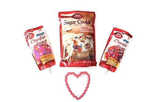 Valentine Betty Crocker Cookie Decorating Bundle - Wilton Heart Shape Cookie Cutter, Cookie Mix, Red & Pink (Valentine Sugar Cookies)