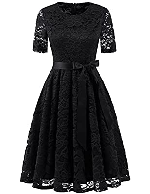 DRESSTELLS Short Scoop Bridesmaid Floral Lace Dress Cocktail Formal Swing Dress