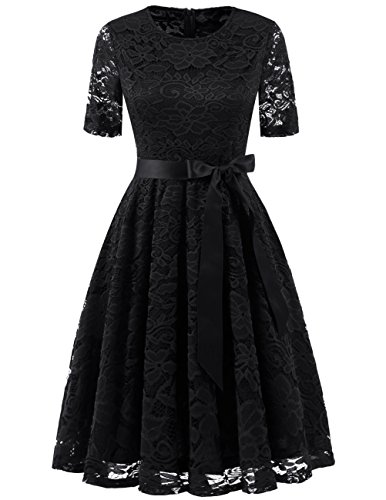 DRESSTELLS Short Bridesmaid Scoop Floral Lace Dress Cocktail Formal Party Dress Black M