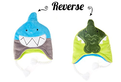 Reversible Winter Fleece Hat (Youth 3 - 8, Shark / Alligator)