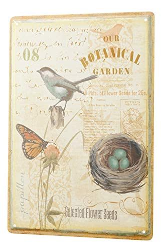 Nostalgic Tin Sign botanical garden bird bird nest Butterfly flower 8X12