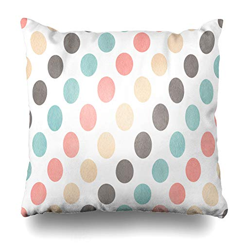(Ahawoso Decorative Throw Pillow Cover Paint Bubble Watercolor Light Pink Blue Dot Gray Beige Circle Classic Color Design Geometric Zippered Design 16