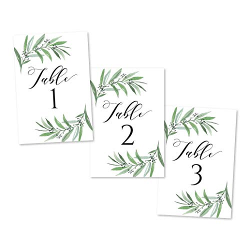 1-25 Greenery Eucalyptus Table Number Double Sided Signs For Wedding Reception, Restaurant Birthday Party Calligraphy Printed Numbered Card Centerpiece Decoration Setting Reusable Frame Stand 4x6 Size (Christmas 1 Number)