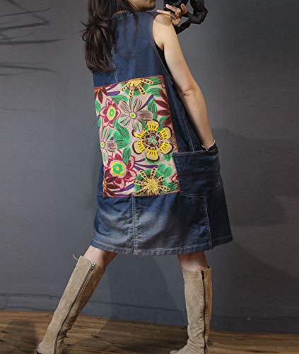Patch Long YL9 Distressed Jacket Jeans Floral Women Casual Yesno Sleeve Denim Pockets Trench Coat Blue Back Loose Unique Typ2 FdYnZPxwq