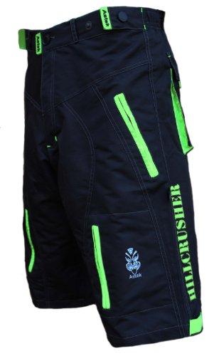 Astek Men's Neon Green Black MTB Baggy Padded Mountain Bike Shorts (Medium) from Astek