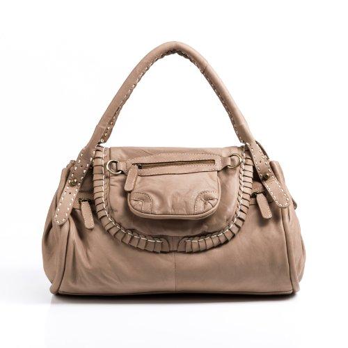 BACCINI bolso de mano GISELE: cartera con asas cortas para mujer - estilo tote-bag gaucho de cuero beige (32 x 29 x 8cm)