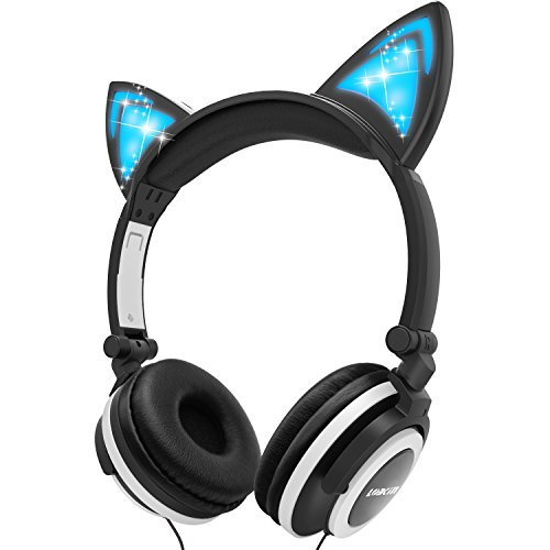 Kids Headphones, LOBKIN Over Ear Foldable Wired Headphone for Children with Glowing Light,Cat Ear Headphones for Girls Boy Baby Cosplay Fans(Black) ()
