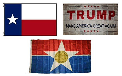 ALBATROS 3 ft x 5 ft Trump White with State of Texas with City of Dallas Set Flag for Home and Parades, Official Party, All Weather Indoors Outdoors ()