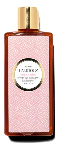 LALICIOUS Sugar Kiss Shower Oil & Bubble Bath - Shower Cleanser with Topical Probiotics & Grapeseed Oil, No Parabens (10 - Sugar Kiss Lalicious