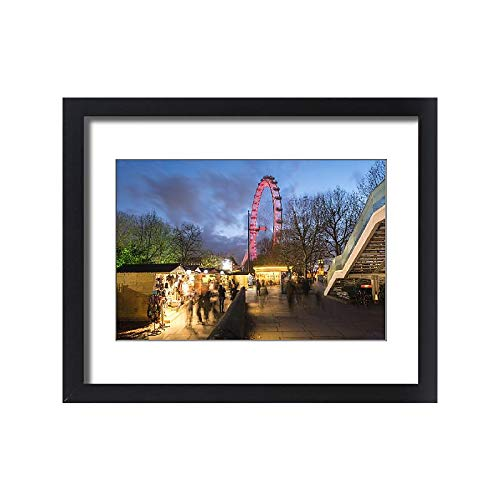 Framed 20x16 Print of Christmas Market in Jubilee Gardens, with The London Eye at Night (11779884) (Eye Markets London Christmas)