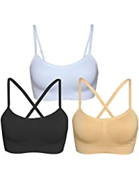 Women's Removable Padded Sports Bras Medium Support Workout Yoga Bra 3 Pack