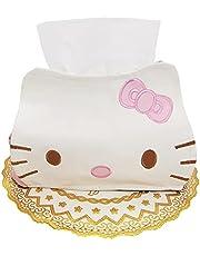 Cartoon pu Leather Tissue Box Holder Cover Cute Leather Car Tissue Holder Hellokitty Leather Tissue Box for Car, Pink Napkins Box Holder Leather Pu Car Facial Tissue Holder Hello Kitty Tissue Box