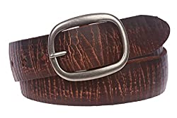 Snap On Crack Finish Oil Tanned Full Grain Leather Oval Jean Belt, Brown | 30