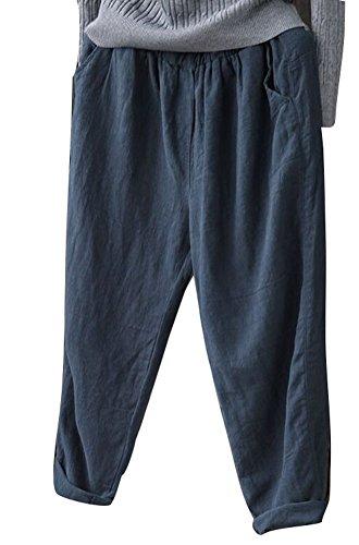 Soojun Womens Cotton Linen Loose Fit Elastic Waist Harm Pant, Navy, (Wide Leg Linen Blend Pants)