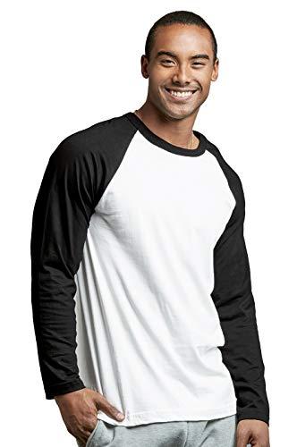 Men's Full Sleeve Casual Raglan Jersey Baseball Tee Shirt (2XL, BLK/WHT)
