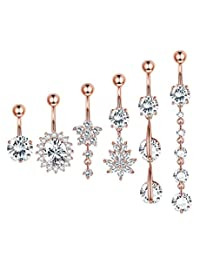 Finrezio 6PCS 14G 316L Stainless Steel Dangle Belly Button Rings for Women Navel Ring CZ Body Piercing Jewelry