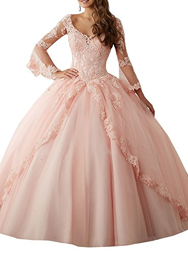 Annadress Women's Long Sleeve Lace Quinceanera Dresses Train V-Neck Ball Gown Pink US12 (Dresses Pink Ball Gown)