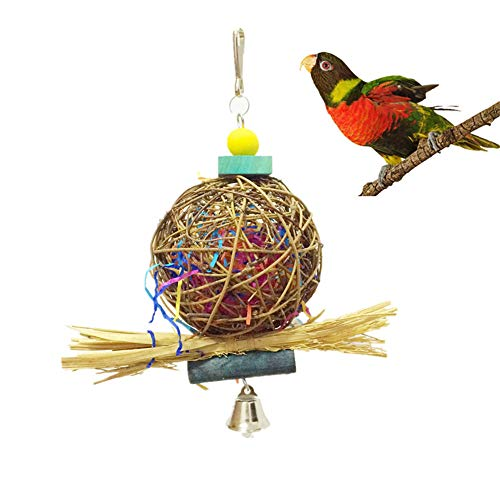 Bird Toys,Parrot cage Toys Bird Swing Toys Bells Bird Perch with Natural Wood Beads Bells Wooden Hammock Hanging Toys - Bird Chewing Toys - Natural Rattan Ball Cage Toy (7.089.05in)