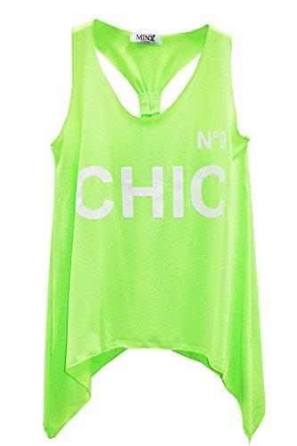 Minx - Camiseta sin mangas - Túnica - Básico - Sin mangas - para mujer verde neón