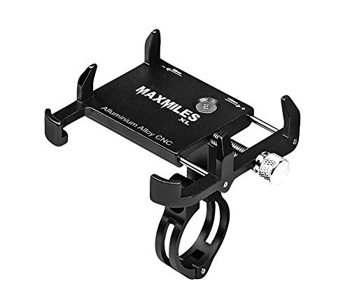 MaxMiles Motorcycle and Bicycle Cell Phone Holder Aluminum Universal Adjustable Phone Mount Smartphone Holder Bike Handlebar Phone Holder for iPhone X 5 6 7 8 Plus Samsung LG