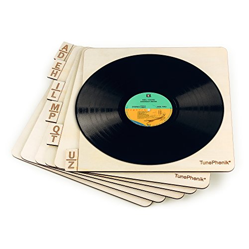 """TunePhonik Horizontal Wooden Laser Cut Record Organizers for Vinyl LPs up to 12"""" 