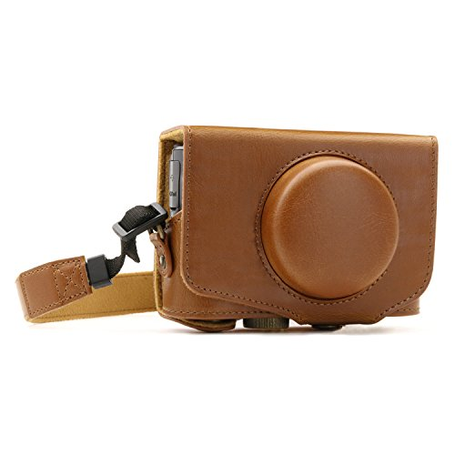 MegaGear MG1175 Ever Ready Leather Camera Case Compatible with Canon PowerShot SX740 HS, SX730 HS - Light Brown