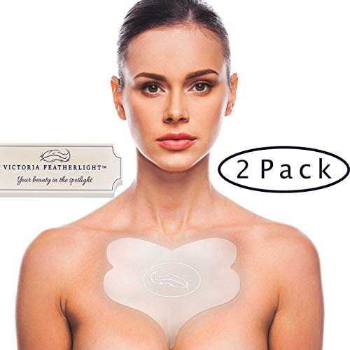 (2 Pads) Victoria Featherlight - Chest Pads For Decollete, Chest Wrinkles Prevention, Silicone Wrinkle Pad (The original design, clear color instead of blue)