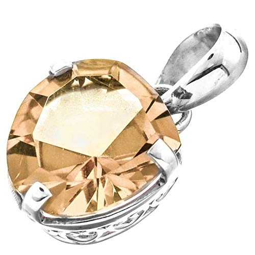 13/16'' Trillion 12MM Sparkling Citrine 925 Sterling Silver Pendant YE-618
