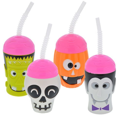 Halloween Character Cups with Straws Set of 4 Vampire, Jack-O-Lantern, Skeleton and -
