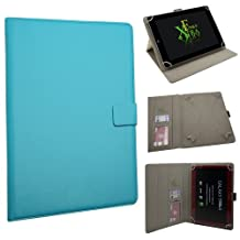 """Xtra-Funky Exclusive Large Luxury Universal Pu Leather Folio Case Cover Fits Most 7.9""""- 11"""" Devices Such as iPad 2/3/4 & Air, Samsung Tab 3 10.1, Sony, Nook, Kobo, Asus, Acer, Archos, Bush, HP, Lenova and much more - SKY BLUE"""