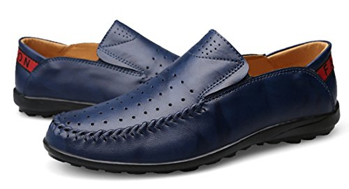 TDA Mens Casual Slip-On Leather Penny Loafers Summer Breathable Mesh Low-Top Shoes Blue 5FPAsX