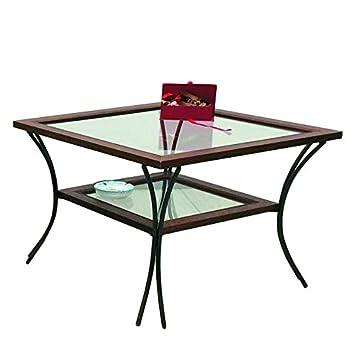 Tavolini Da Salotto In Vetro E Ferro Battuto.Spazio Casa Tavolino Da Salotto In Legno Con Piedi In Ferro Battuto Ripiani In Vetro Noce 55 X 55 H 50