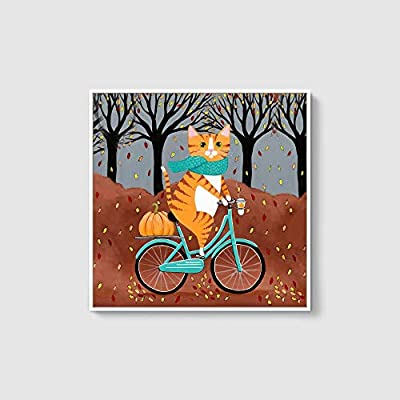 Framed Canvas Wall Art for Living Room, Bedroom Whimsical Animal Illustration VIII Canvas Prints for Home Decoration Ready to Hang - 16x16 inches