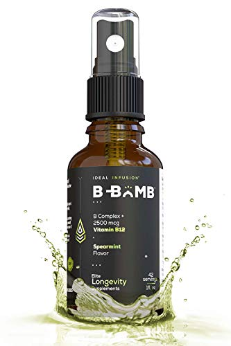 Bioactive Vitamin B12 Liquid Spray l Ultra Energizing Metabolism Support l Adenosyl and Methyl l Organic Spearmint and Stevia (Liquid B Complex Methylcobalamin)