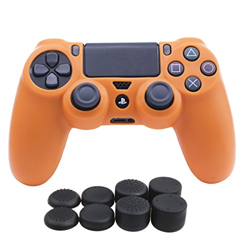 YoRHa Silicone Cover Skin Case for Sony PS4/slim/Pro controller x 1(orange) With Pro thumb grips x 8