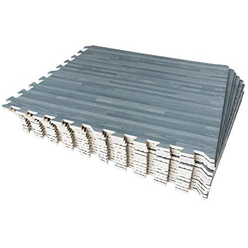 LaFamille Wood Grain Floor Mat 6/12 Tiles Foam Interlocking Puzzle Wood Mat for Kids, Gym, Basement 2'x2' (Light/Dark Wood) (12 Tiles Gray)
